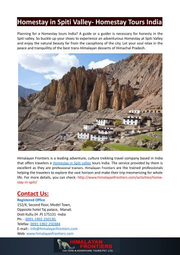 Homestay in Spiti Valley- Homestay Tours India