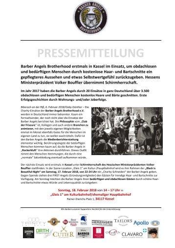Pressemitteilung Barber Angels in Kassel am 18. Februar 2018 - Schirmherr Hessens Ministerpräsident Volker Bouffier.