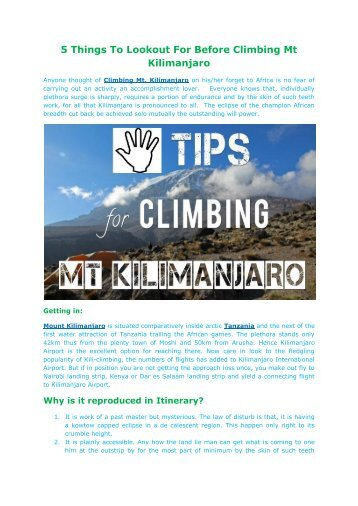 5 Things To Lookout For Before Climbing Mt Kilimanjaro