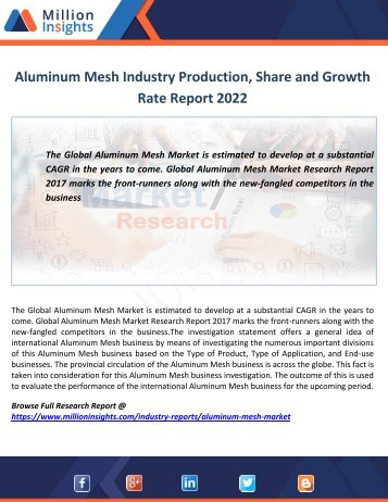 Aluminum Mesh Industry Production, Share and Growth Rate Report 2022
