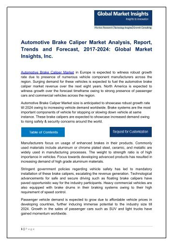 Automotive Brake Caliper Market By Technology, Application, Region – Forecast 2024