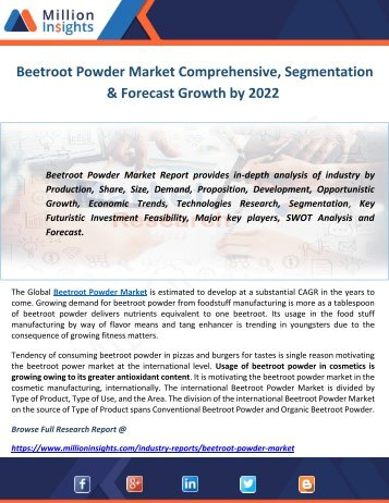 Beetroot Powder Market Comprehensive, Segmentation & Forecast Growth by 2022