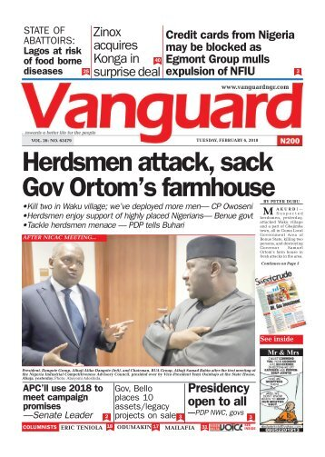 06022018 - Herdsmen attack, sack Gov Ortom's farmhouse