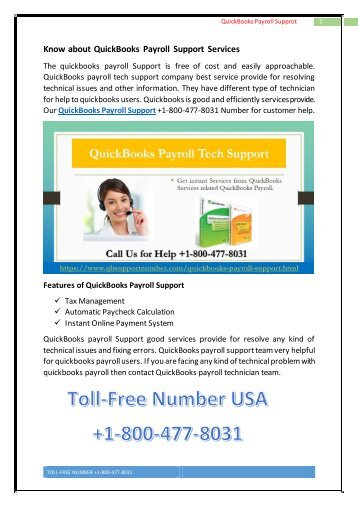 Get Instant Services by QuickBooks Payroll Support +1-800-477-8031 USA