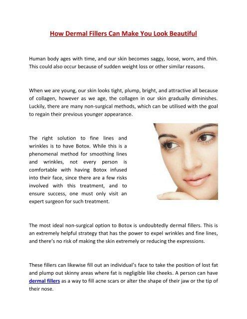 How Dermal Fillers Can Make You Look Beautiful