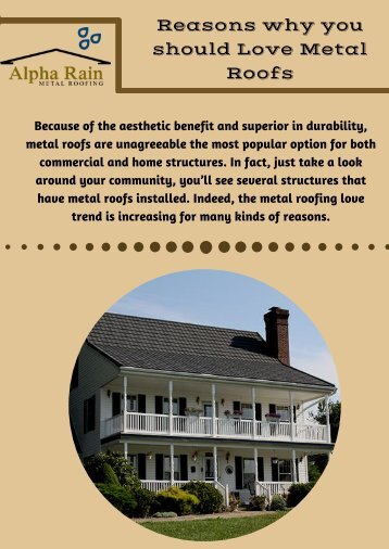 Reasons why you should Love Metal Roofs