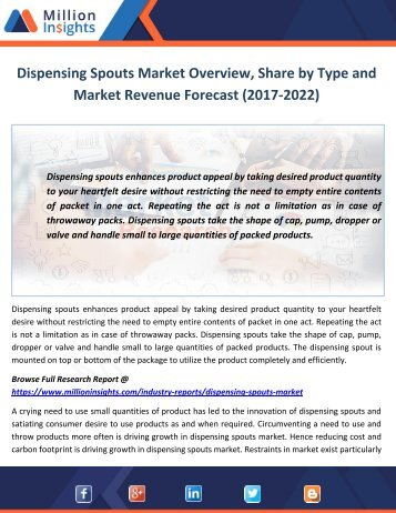 Dispensing Spouts Market Type and Market Revenue Forecast (2017-2022)