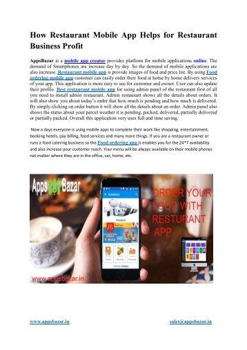 How Restaurant Mobile App Helps for Restaurant Business Profit