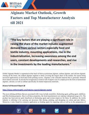 Alginate Market Outlook, Growth Factors and Top Manufacturer Analysis till 2021