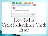 Fix Toshiba Laptop Redundancy Check Error