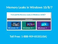 1-888-909-0535 How to Fix Memory Leaks in Windows 10/8/7