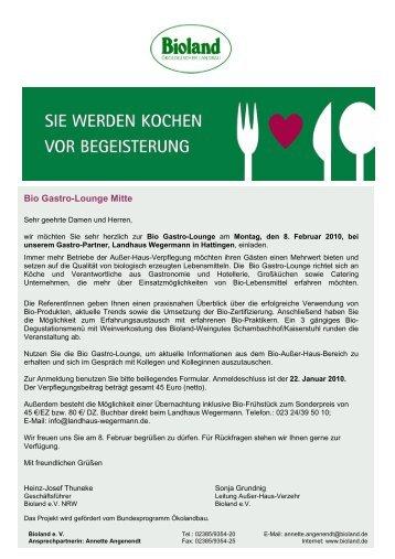 Anmeldung Bio Gastro-Lounge Mitte - Bioland