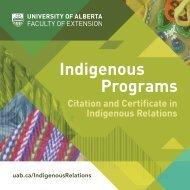 University of Alberta's Faculty of Extension Indigenous Programs Brochure