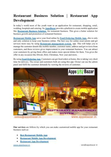 Restaurant Business Solution  Restaurant App Development
