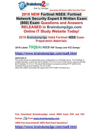 [2018-Feb-Version] New Fortinet NSE8 PDF and NSE8 VCE Dumps 70Q&As Free Share(34-44)