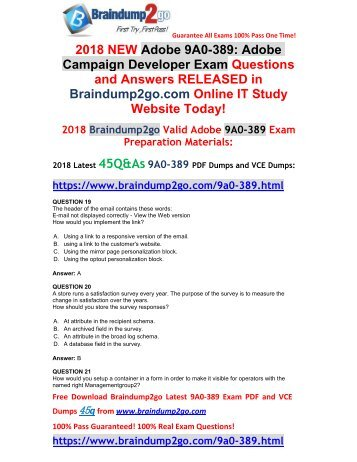 [2018-Feb-Version] New Adobe 9A0-389 Dumps with PDF and VCE 45Q&As Free Share(19-23)