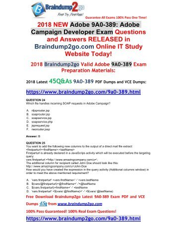 [2018-Feb-Version] New Adobe 9A0-389 PDF and 9A0-389 VCE Dumps 45Q&As Free Share(24-29)