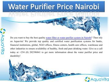 Water Purifier Price Nairobi
