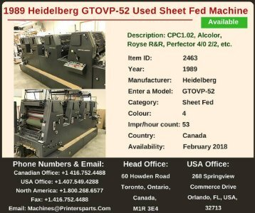 Buy Used 1989 GTOVP-52 Heidelberg Printing Presses Machine