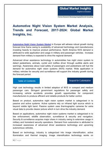 Automotive Night Vision System Market Analysis, Trends and Forecast, 2017-2024