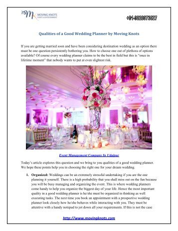 Qualities of a Good Wedding Planner