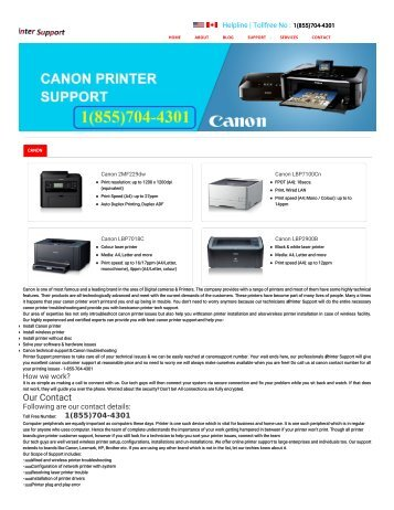 Canon Printer Support Phone Number+1(855)704-4301