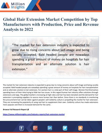 Global Hair Extension Market Competition by Top Manufacturers with Production, Price and Revenue Analysis to 2022