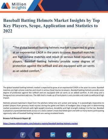 Baseball Batting Helmets Market Insights by Top Key Players, Scope, Application and Statistics to      2022