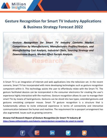 Gesture Recognition for Smart TV Industry Applications & Business Strategy Forecast 2022