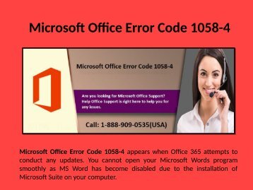 Fix Microsoft Office Error Code 1058-4 Call 1-888-909-0535