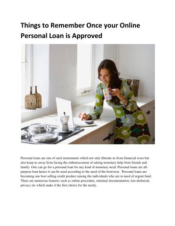 Things to Remember Once your Online Personal Loan is Approved