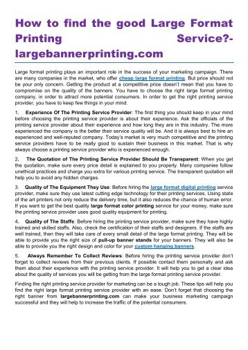 How to find the good Large Format Printing Service- largebannerprinting.com