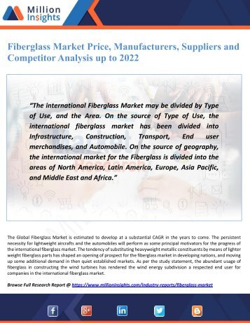 Fiberglass Market Price, Manufacturers, Suppliers and Competitor Analysis up to 2022