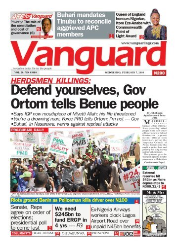 07022018 - HERDSMEN KILLINGS: Defend yourselves, Gov Ortom tells Benue people