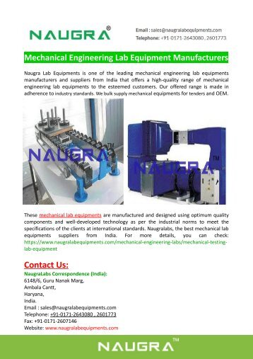 Mechanical Engineering Lab Equipment Manufacturers