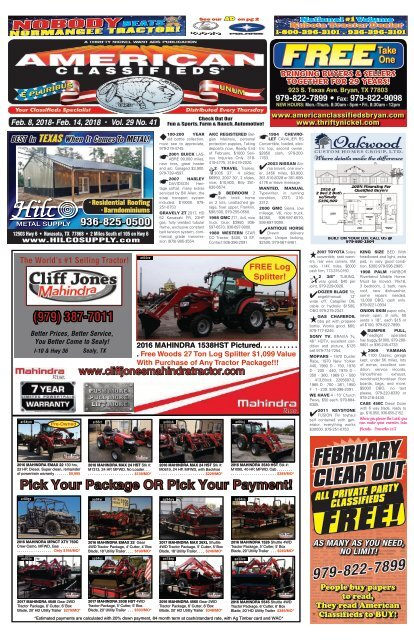 American Classifieds February 8th Edition Bryan/College Station