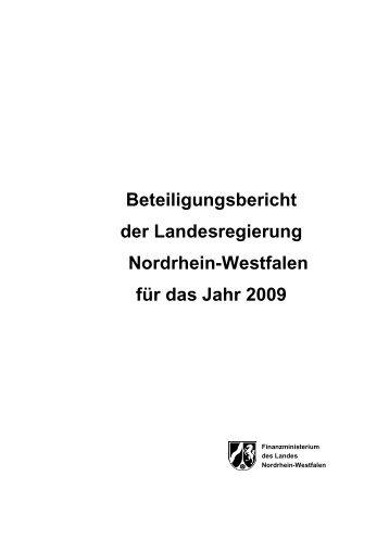 Beteiligungsbericht 2009 - 20 01 11 - Finanzministerium NRW ...