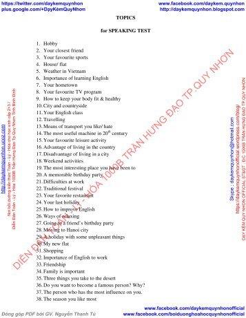 Topics for speaking test (Các chủ đề và bài mẫu cho kỳ thi nói trong Tiếng Anh)
