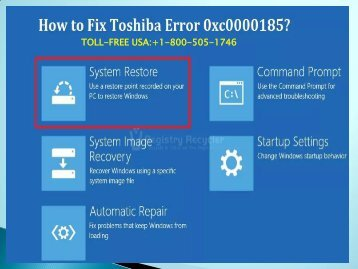 Fix Toshiba Error 0xc0000185