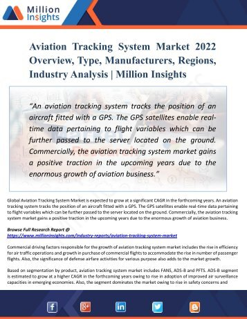 Aviation Tracking System Market : Global Industry Key Players, Trends, Share, Size, Growth, Opportunities, Forecast To 2022