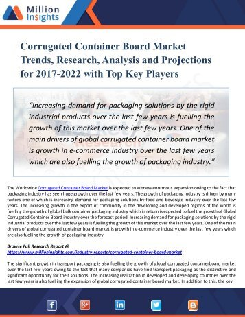 Corrugated Container Board Market – Global Industry Insights, Trends, Outlook, and Opportunity Analysis, 2017–2022