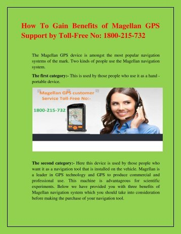 How To Gain Benefits of Magellan GPS Support by Toll-Free No  1800-215-732