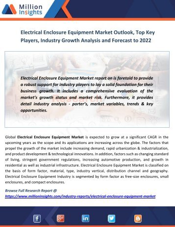Electrical Enclosure Equipment Market Outlook, Top Key Players, Industry Growth Analysis and Forecast to 2022
