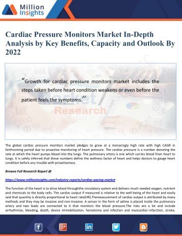 Cardiac Pressure Monitors Market In-Depth Analysis by Key Benefits, Capacity and Outlook By 2022