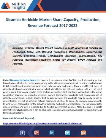 Dicamba Herbicide Market Share,Capacity, Production, Revenue Forecast 2017-2022