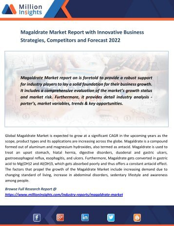Magaldrate Market Report with Innovative Business Strategies, Competitors and Forecast 2022