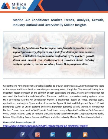 Marine Air Conditioner Market Trends, Analysis, Growth, Industry Outlook and Overview By Million Insights