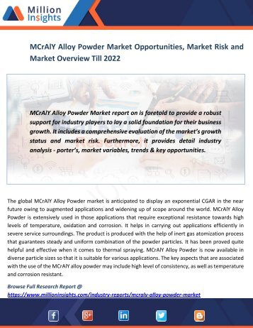 MCrAlY Alloy Powder Market Opportunities, Market Risk and Market Overview Till 2022