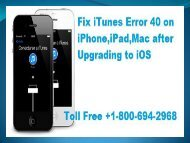 1-800-694-2968|Fix iTunes Error 40 on iPhone,iPad,Mac after Upgrading to iOS