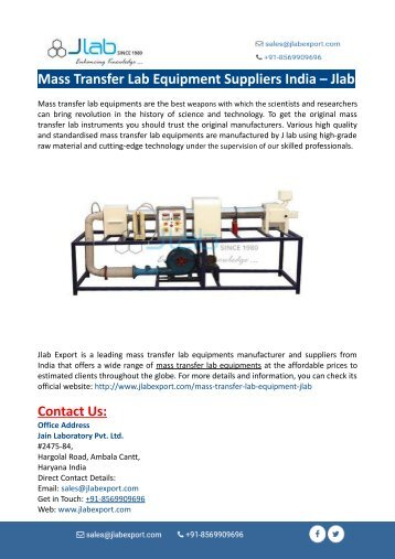 Mass Transfer Lab Equipment Suppliers India – Jlab